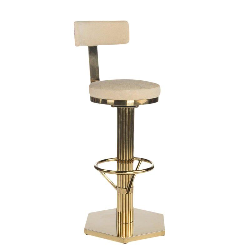 Hollywood Regency Oscar Gold Bar Chair Bar Chairs Swivel Bar