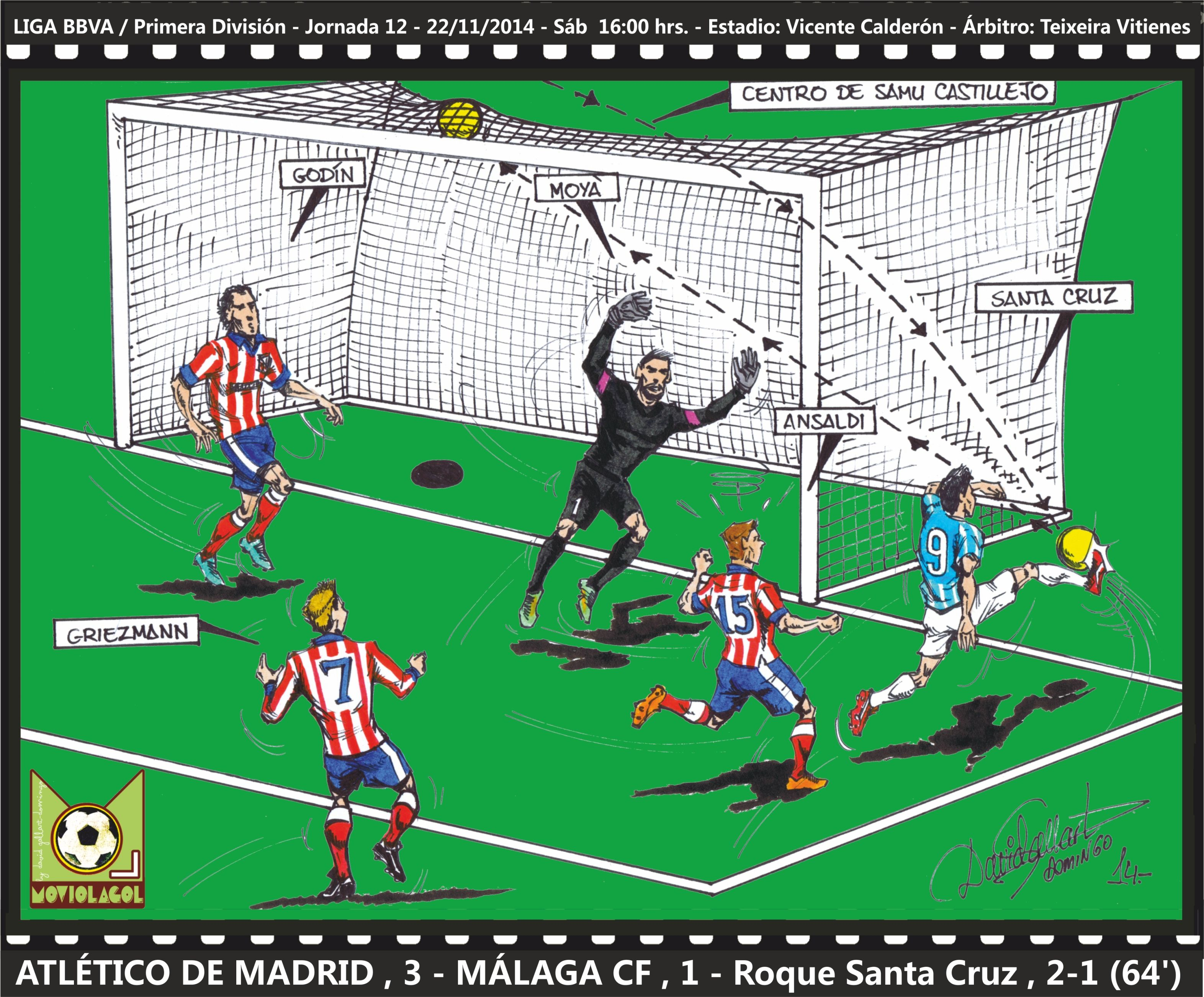 LIGA BBVA 201415 Atlético de Madrid, 3 Málaga CF, 1