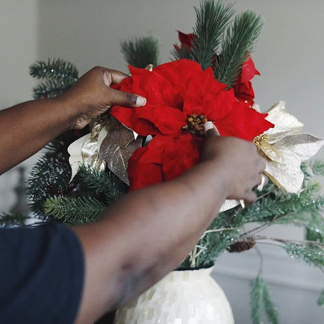 Fluffing Out My Poinsettias For Table Decor I M Almost Done With Just Gotta Do The Tree Did You Anything New This Year Decorating Day