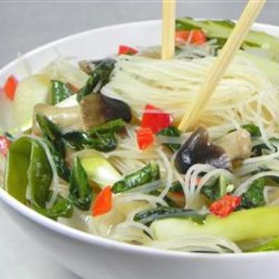 Rice Noodles with Shiitakes, Choy, and Chiles