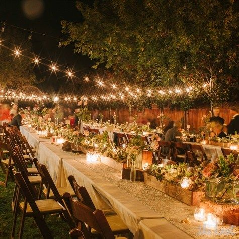 Lighted Outdoor Reception without a tent