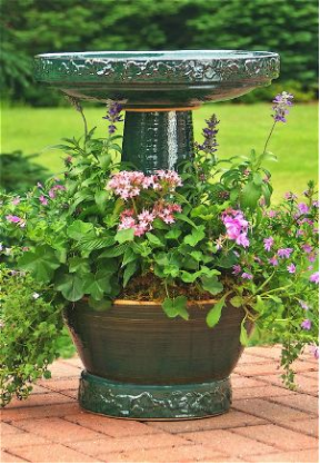 Unique Bird Bath With Planter Outside Love Pinterest Garden