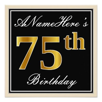 Elegant black faux gold 75th birthday name card elegant black faux gold 75th birthday name card birthday invitations bookmarktalkfo Image collections