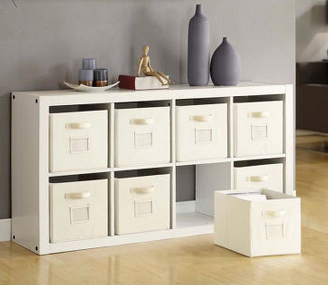 Storage Bins Organizer Bookcase White  Cubby Room Divider Wood Space Saver Cube