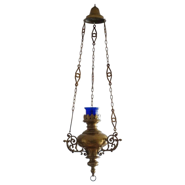 1stdibs - Style Hanging Sanctuary Lamp Church Pendant Spanish Spanish Colonial Brass, Bronze, Glass #churchitems