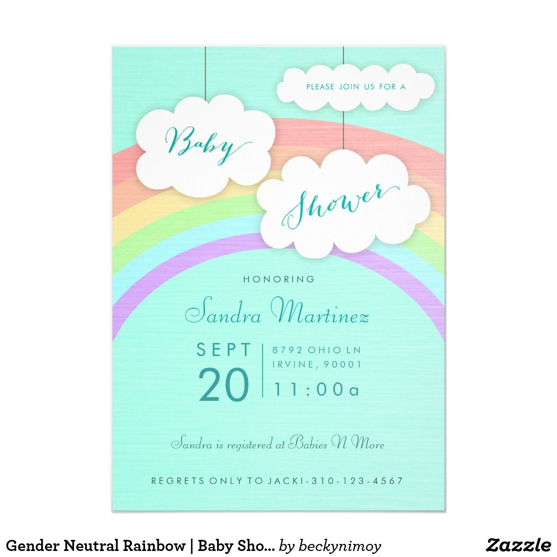 Gender Neutral Rainbow  Baby Shower Invitation  Gender Neutral
