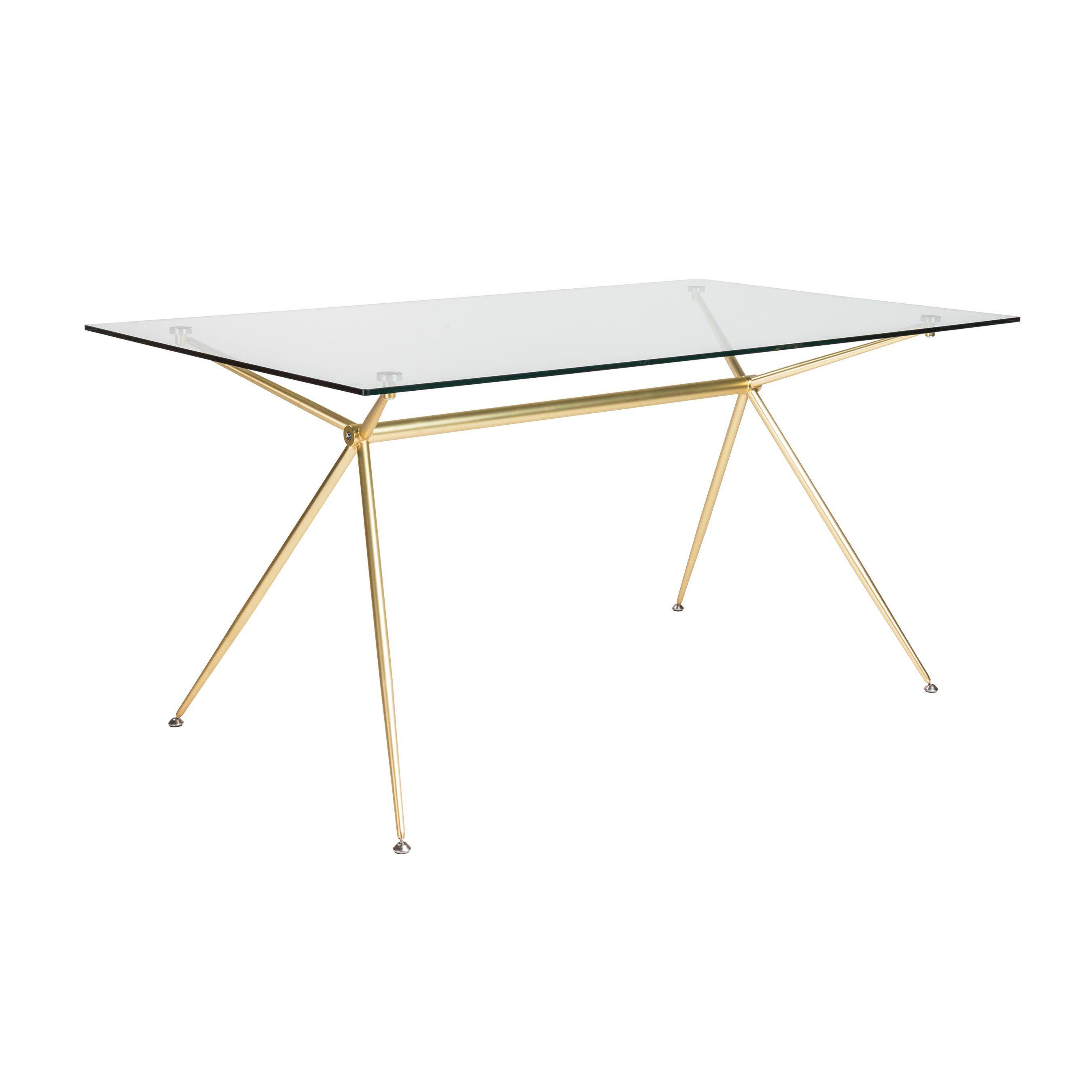 Modern 60 Executive Glass Desk With Matte Brushed Gold Frame