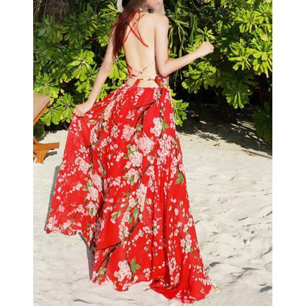 Bohemian Spaghetti Strap Criss-Cross Floral Print Women's Chiffon Dress