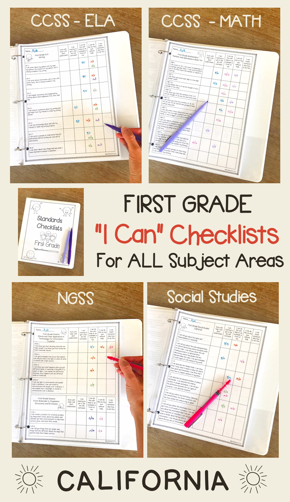 First Grade Standards Checklists for All Subjects quot I Can