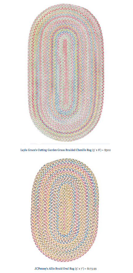 COPY CAT CHIC FIND: Layla Grace's Cutting Garden Grass Braided Chenille Rug VS JCPenney's Allie Braid Oval Rug