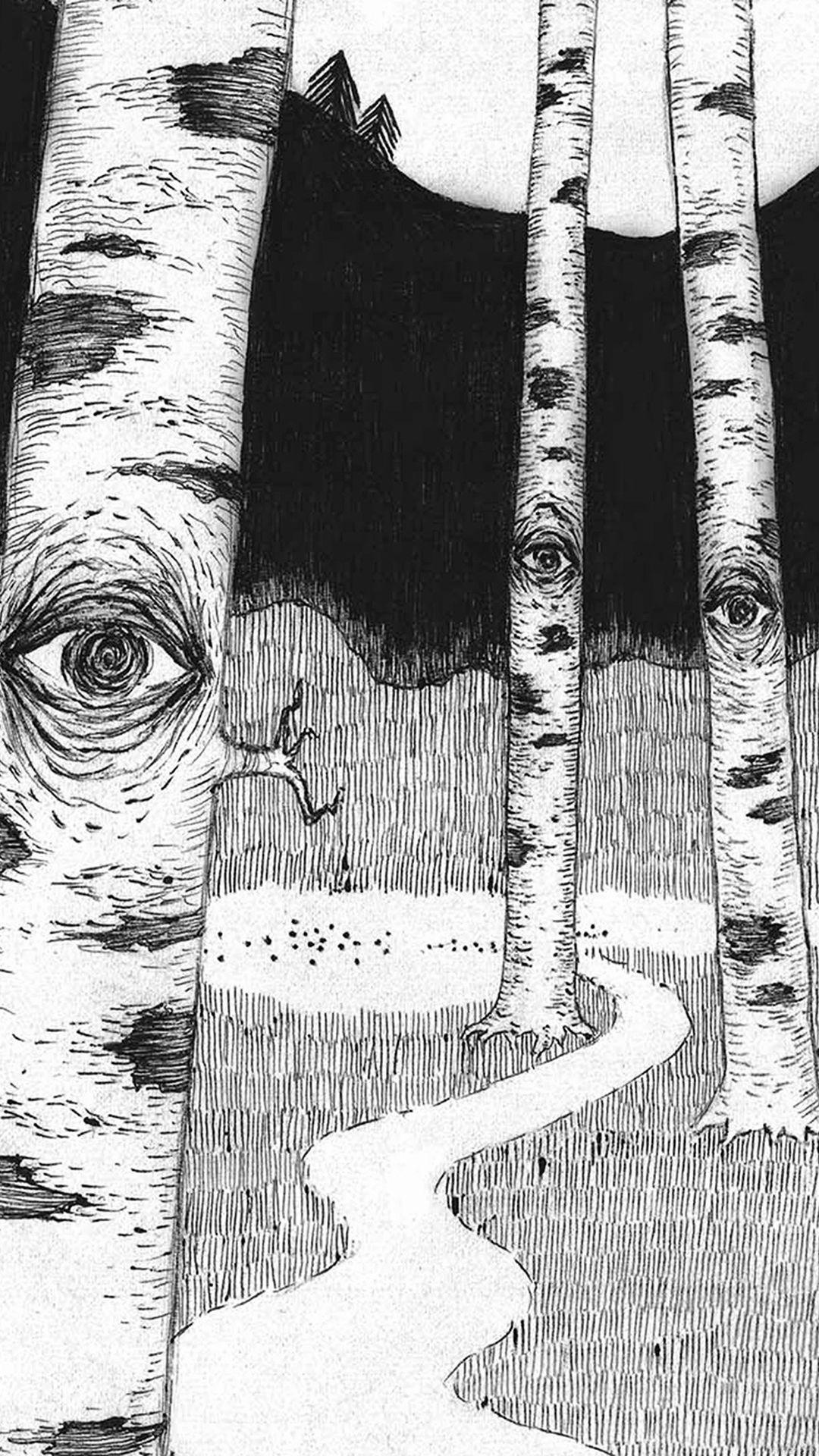 Eye in woods pencil drawing art illust iphone 6 wallpaper
