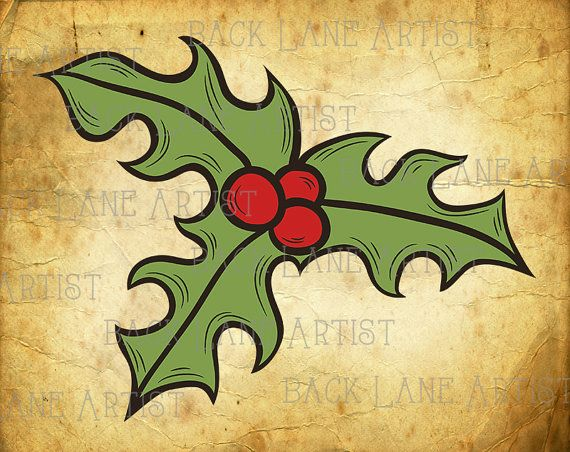 Christmas Holly Wintergreen Plant Clipart by BackLaneArtist