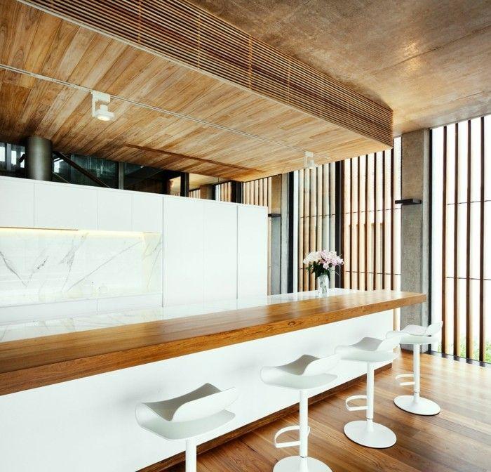 holzverkleidung küche weiß holz kombinieren elegant funktional - küche weiß mit holz