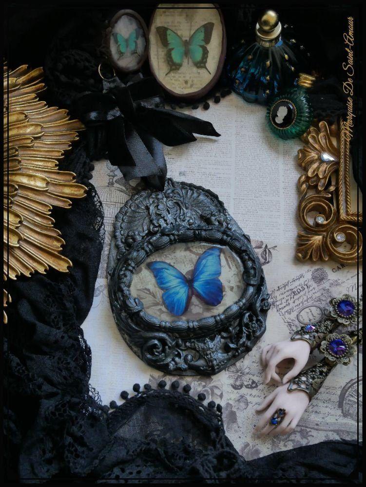 Petit Tableau Medaillon Avec Papillon Bleu Style Cabinet De Curiosite Decoration Papillon Morpho Menelaus Didius Tableau Gothique Noir Goth Decor Blue Butterfly Butterfly Wall Decor