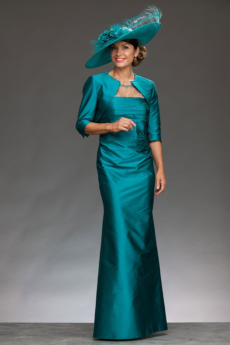 7750f2c272 John Charles long dress with bolero jacket. The dress is ruched from over  the bust to the waist to give a very flattering silhouette.