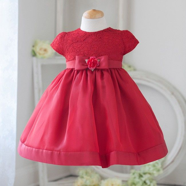 Red Dulcet Formal Lace Infant Dress
