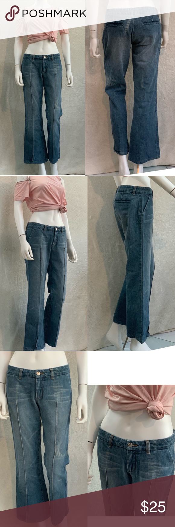 BEBE 💙 Seamed Ankle Wide Leg Mid-Rise denim jeans PRE-OWNED GOOD CONDITION GE… – My Posh Closet