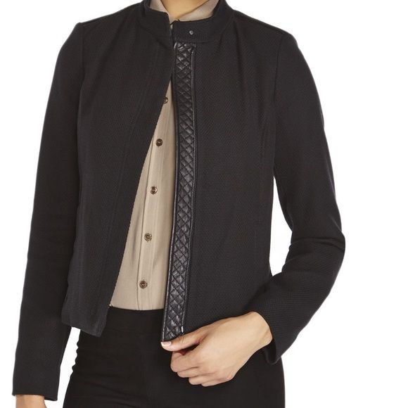 VINCE black leather trim woven jacket Leather trim at zipper, collar and waist Vince Jackets & Coats