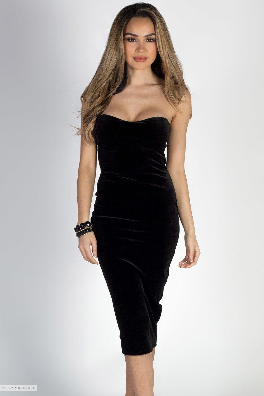 aa5691e797 Sweetheart Neckline Classy Strapless Black Velvet Cocktail Dress
