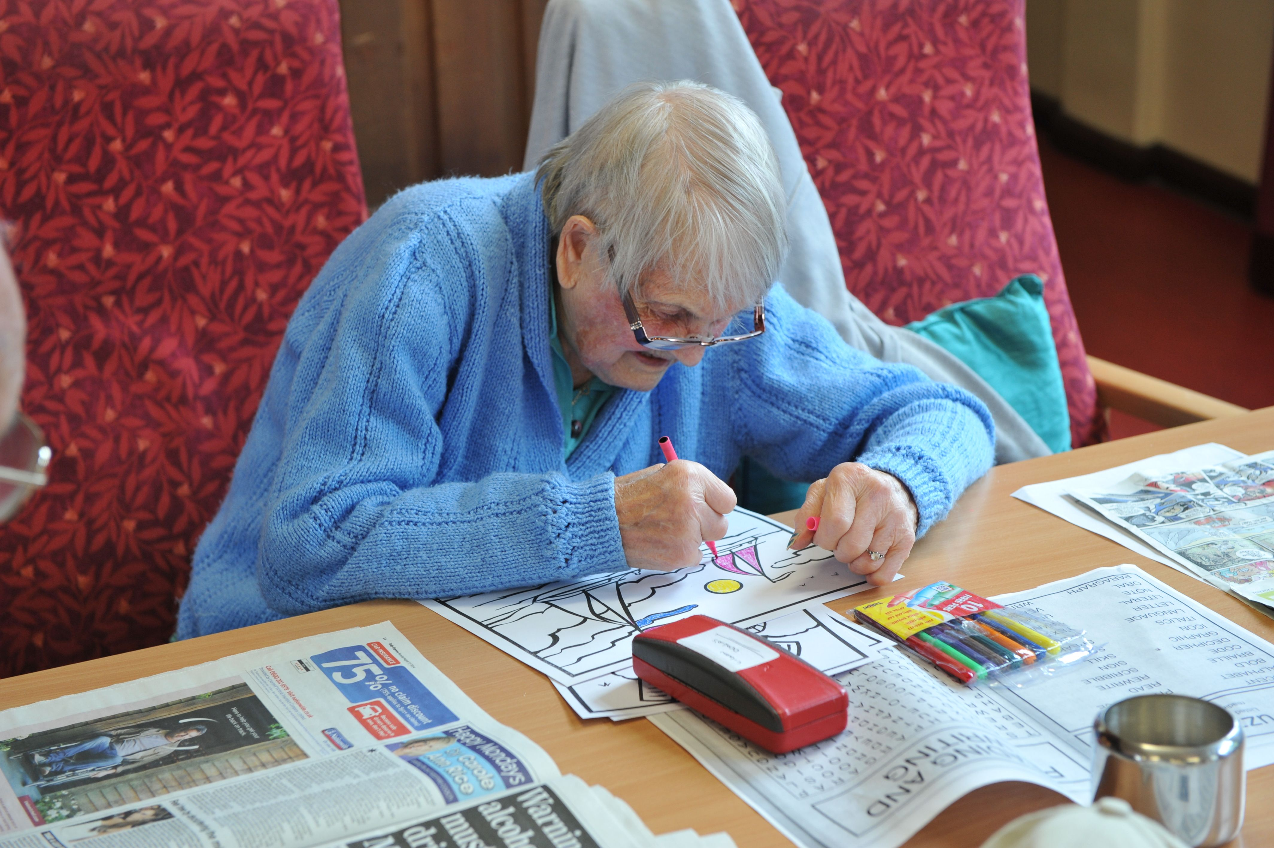 We have age appropriate colouring cards, books and