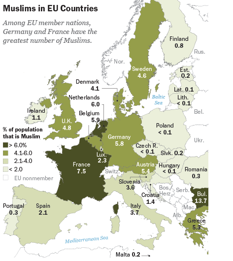 Image result for map muslims in europe