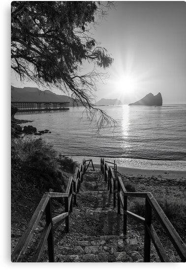 Lienzo en blanco y negro de la costa de Murcia