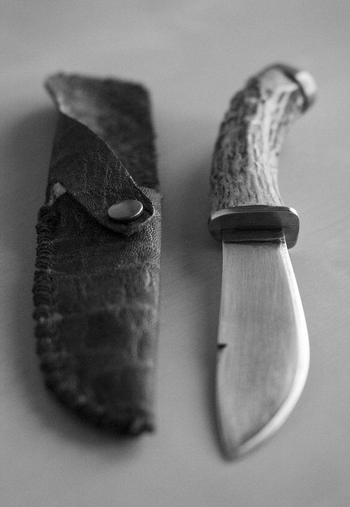 Handmade Stag Handle Knife and Sheath by Elias Carlson