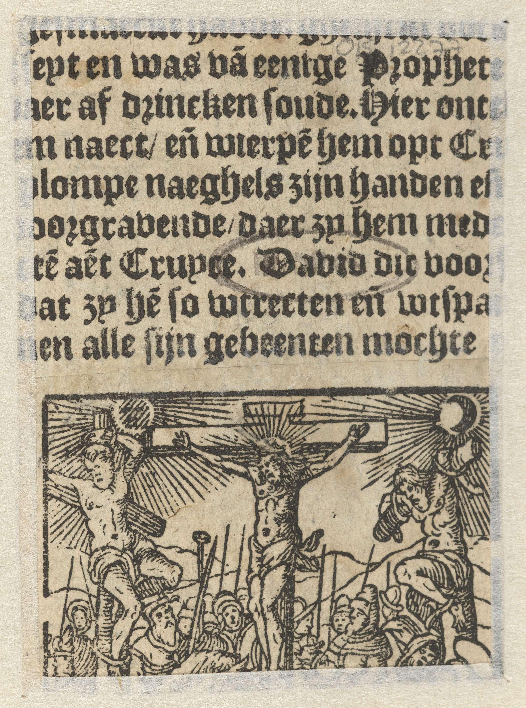 Anonymous | Kruisiging, Anonymous, 1604 | Kruisigingsscène met Christus aan het kruis. Links en rechts van hem de twee gekruisigde moordenaars. Zon en maan aan de hemel. Aan de voet van het kruis omstanders.