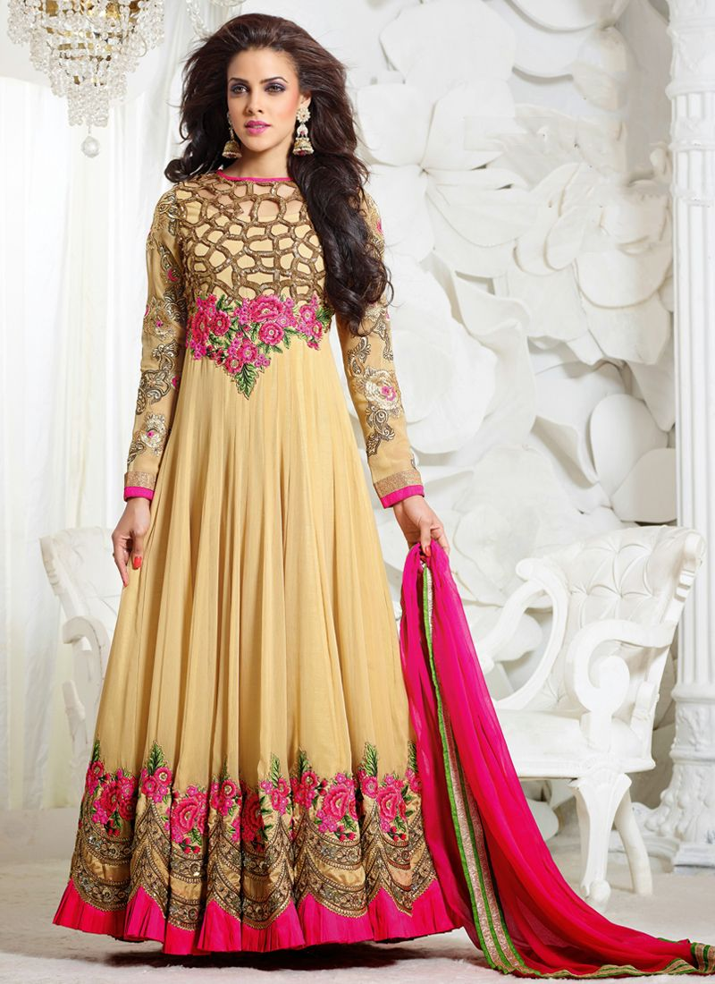 http://www.sareesaga.com/index.php?route=product/product&product_id=12334 Work	:	Embroidered	 Style	:	Anarkali Suit Shipping Time	:	7 to 9 Days	 Occasion	:	Festival Reception Fabric	:	Faux Georgette	 Colour	:	Cream For Inquiry Or Any Query Related To Product,  Contact :- +91 9825192886