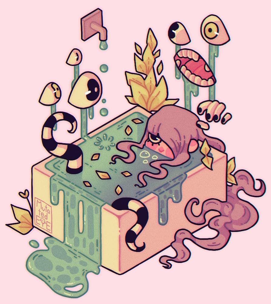 Mute Emily Schlei On Instagram Bath Exe Witchaesthetic Witch Aesthetic Pink Pinkaesthetic Plants Plantaesth God Art Cute Art Anime Drawings Sketches