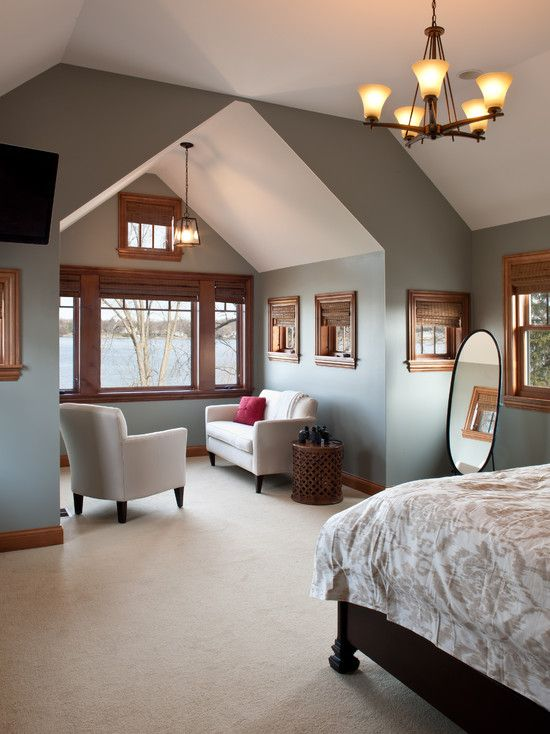 gray paint colors with wood trim | bedrooms | stained wood trim