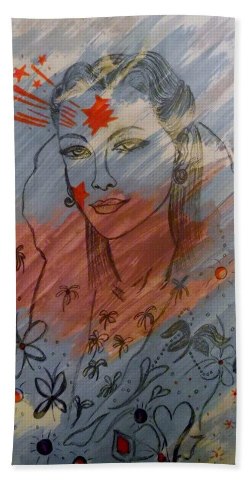 Beauty Beach Towel featuring the drawing Wishing For A Beauty Star by Nicole Burrell