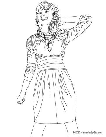 Demi Lovato Happy Coloring Page More Famous People Coloring Sheets On Hellokids Com People Coloring Pages Coloring Pages Demi Lovato