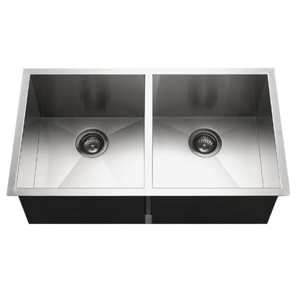 Houzer Contempo Series Undermount Stainless Steel 50 50 Double