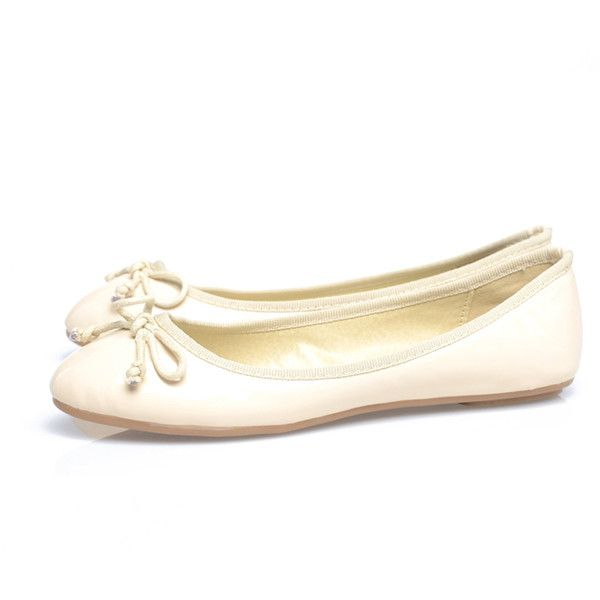 b60d11643da4be AX Paris Cream Pallet Bow Pump ( 25) ❤ liked on Polyvore featuring shoes