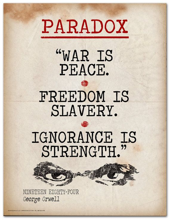 Nineteen Eighty Four Paradox Quote Educational Art Print Etsy Paradox Quotes Literary Terms Orwell Quotes