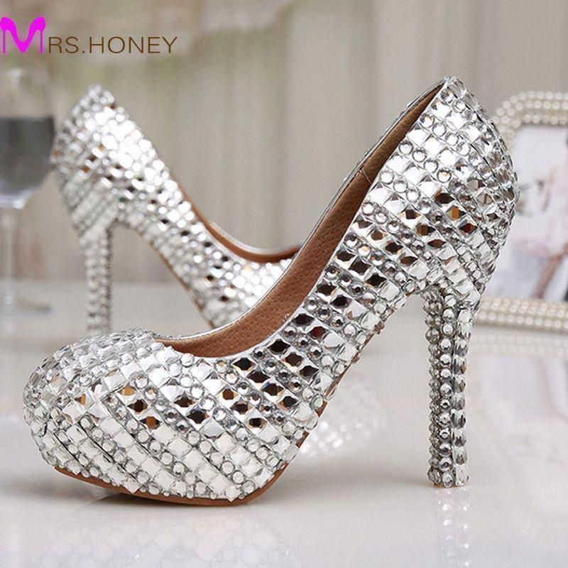 Womens High Heel Glitter Crystal Platforms Wedding Shoes Diamond Jeweled  Silver Bridal Shoes 12cm Cinderella Prom Evening Pumps  promheelscinderella  ... aaebfec52dda