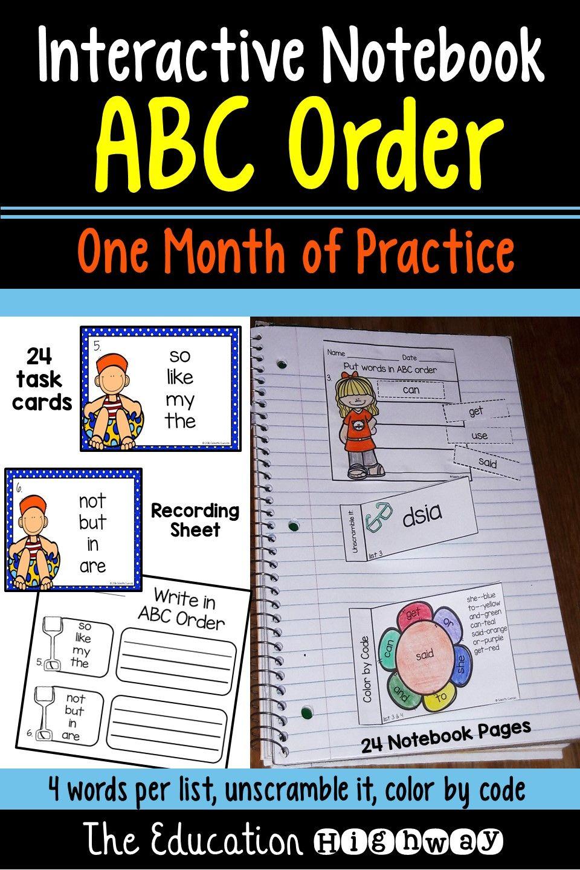 ABC Order Interactive Notebook   Pinterest