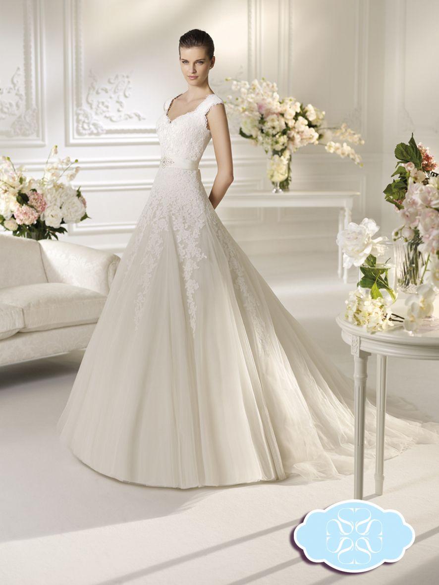 Lace cap sleeve a line wedding dress  Nielar  White One By Pronovias  Pinterest
