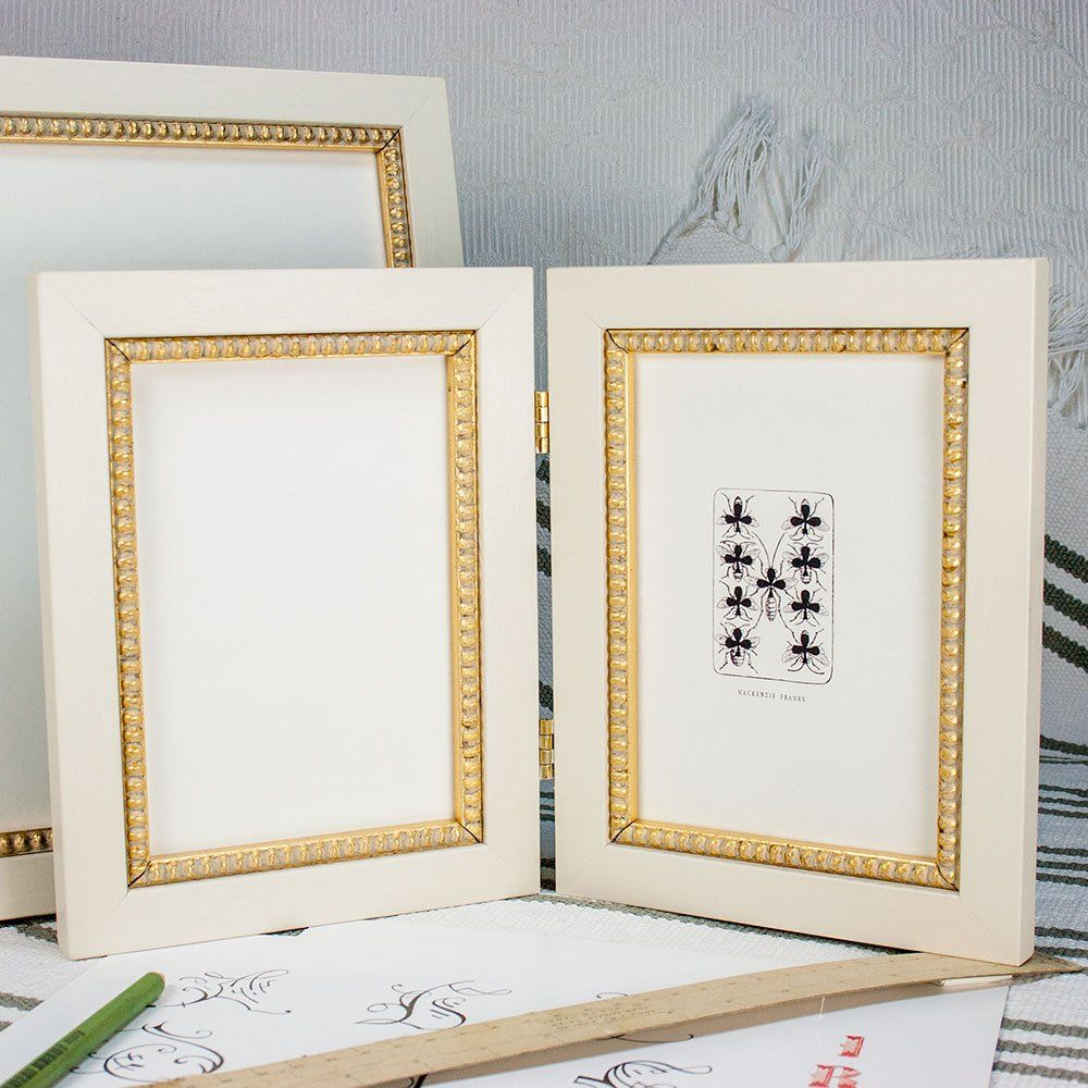 5x7 Oval Frame White with Painted Decoration TWO AVAILABLE