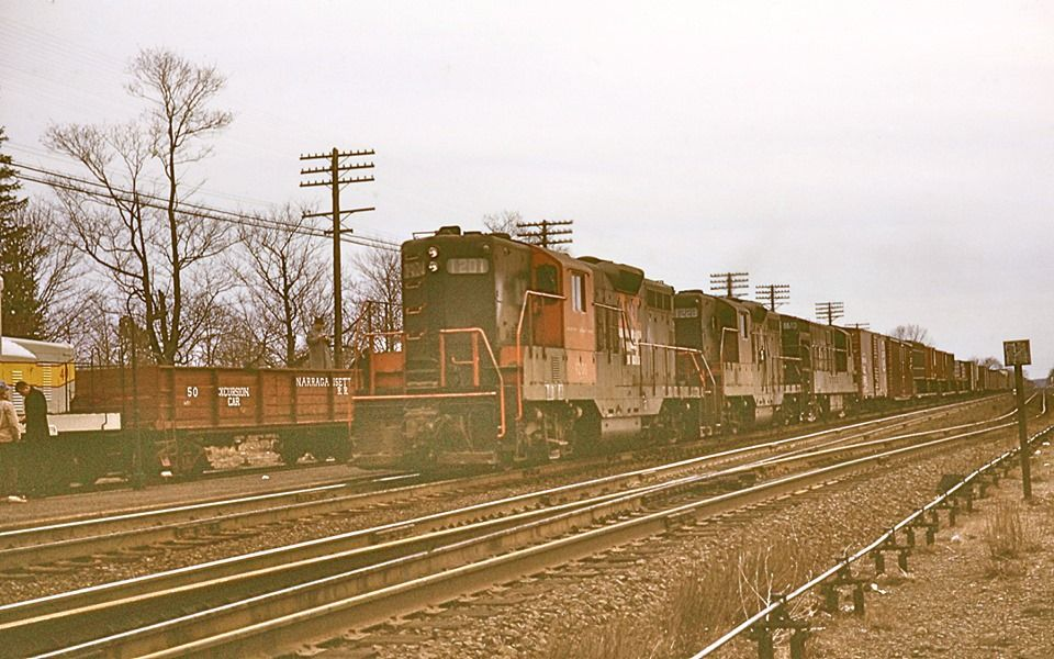 Shore Line freight train at West Kingston, RI sometime in