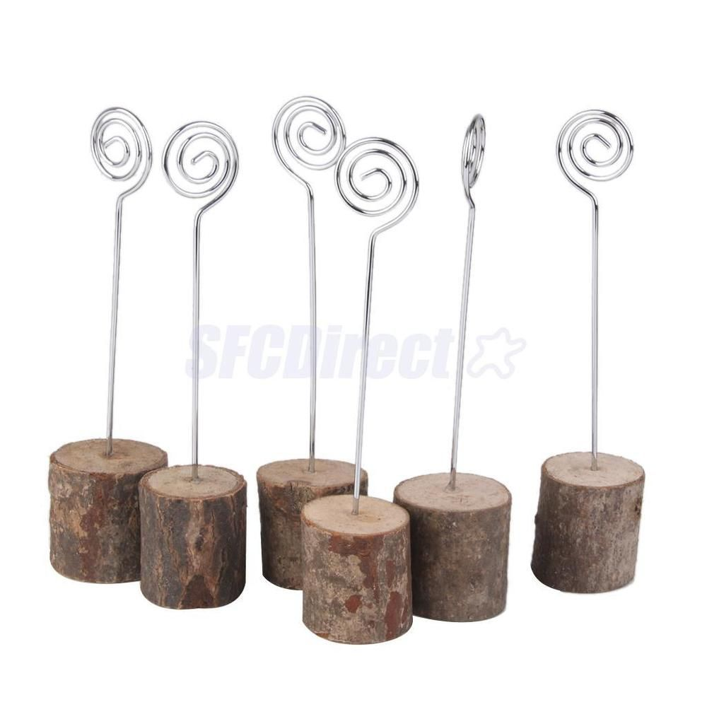 6 Wooden Base Rustic Wedding Table Number Place Name MEMO Card Stand Holder #