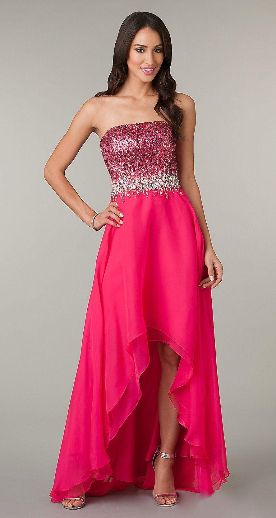 7d71ecc83e72c Beautiful High Low Watermelon Formal Prom Dress Strapless Sequins $199.99