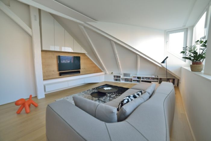 Weiße Einrichtung Dachwohnung Einrichten Wohnungseinrichtung