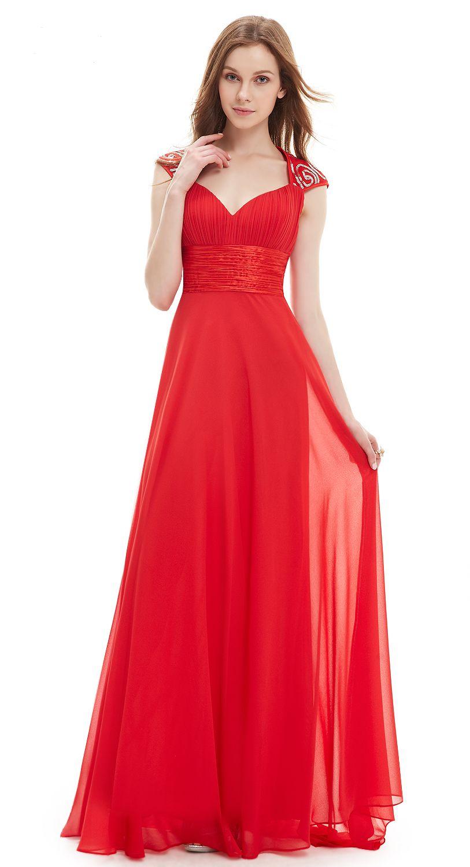 Long evening dress with queen anne neckline chiffon ruffle empire
