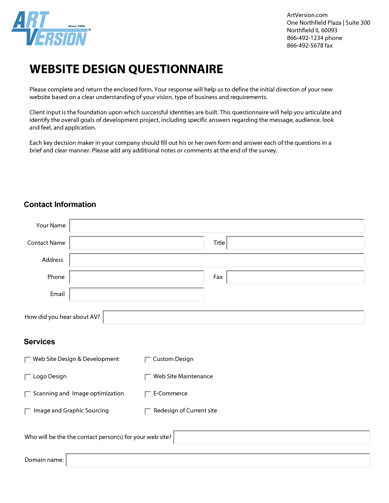 Website Design Questionnaire