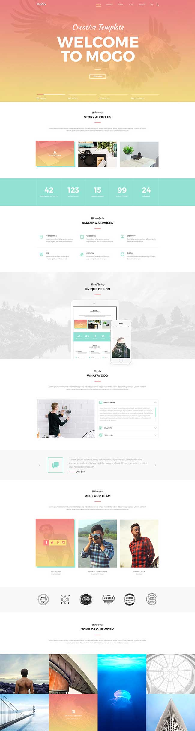MoGo-Free-One-Page-PSD-Template | Landing Page - ToonLuv | Pinterest