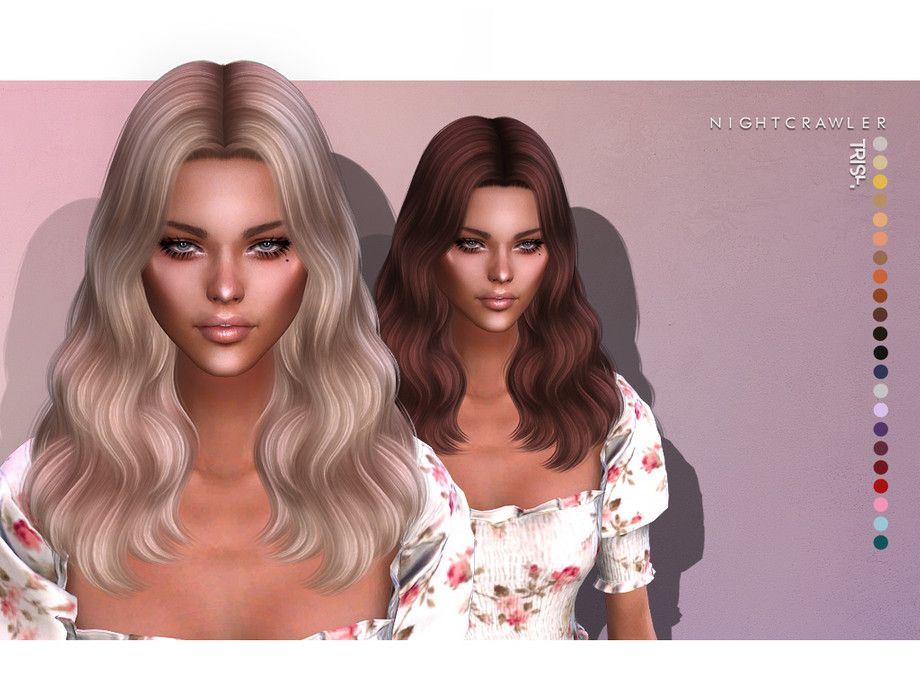 Nightcrawler Sims Nightcrawler Trish Hair Sims 4 Cc Custom Content Alpha Hair Short Shoulder Length Wavy Curly Hairstyle T In 2020 Sims Hair Sims 4 Hair Styles