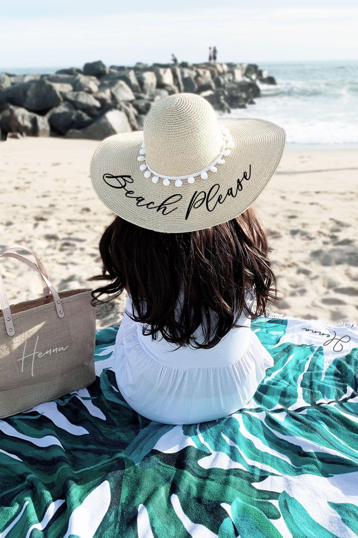 Personalized Beach Hat Bachelorette Party Hat Beach Hat Floppy