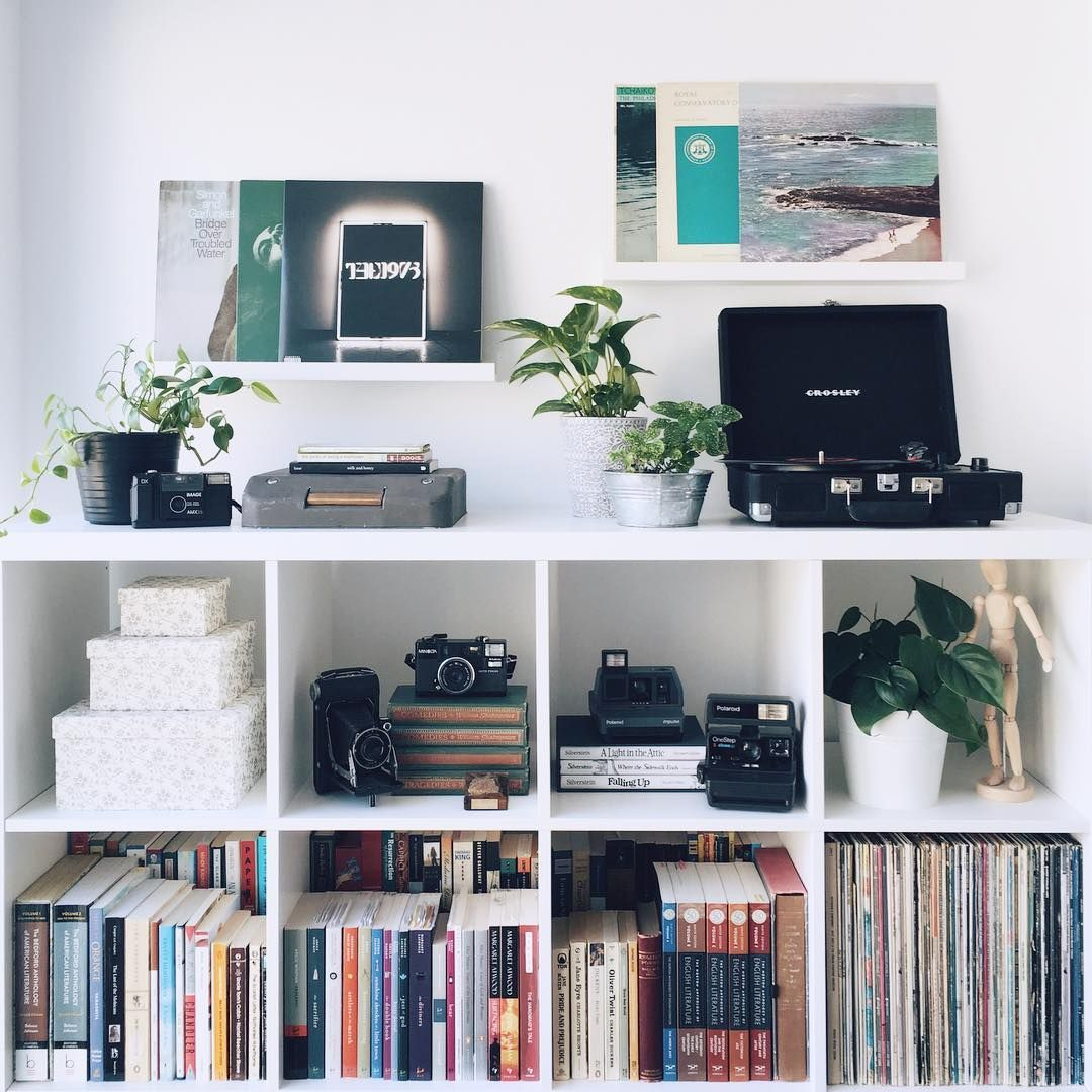 White Ikea Shelf Unit Books Cameras Records And Plants  # Bibliotheque Expedit Ikea Occasion